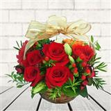 Bright Red Rose Basket