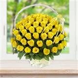 Wonderful Yellow Roses Basket