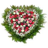 Mixed Roses in a Heart Shape