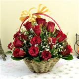 25 Red Roses in a Round Handle Basket