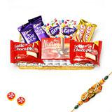 Assorted Chocolates in a Rectangular Tray with Rakhi