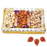 Dry fruits and 5 Star Combo Pack with Diyas