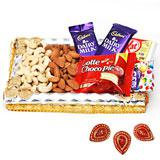 Dry fruit and Chocolate Combo Pack with Diyas