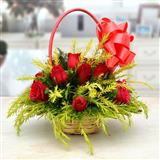 Lovely Red Roses in a basket