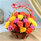 36 multicolour Rose Basket