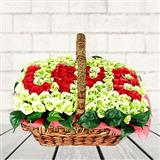 White N Red Rose Basket