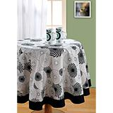 Black N White Floral Swirls Table Cover