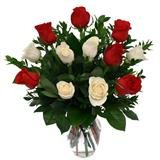 Red and White Roses Bunch in a Vase - Midnight