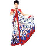 Red and White Crepe Jacquard Saree 