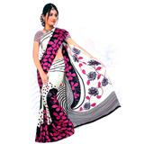 Exclusive White and violet colored Saree