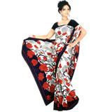 Navy Blue and White Jacquard Saree