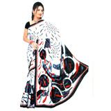 White Saree with Black prints