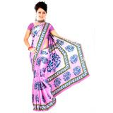 Pink Color With Blue Floral Prints Saree