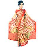 Red Bobby Print Saree