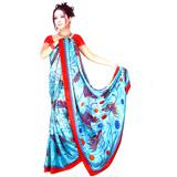 Pretty Blue and Red Saree