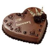25th Anniversary Heart Shaped Cake