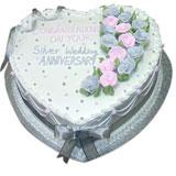 Special Silver Anniversary Cake